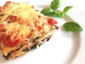 Lasagne met spinazie, geitenkaas en pitten