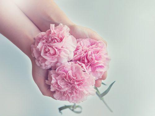 handen met bloemen